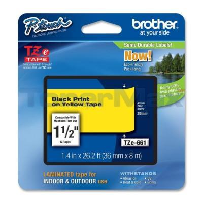 BROTHER TZ LAMINATED TAPE BLACK ON YELLOW 36 MM X 8 M 